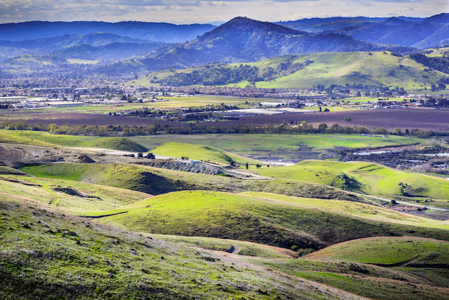 View towards Morgan Hill, south San Francisco bay area, California